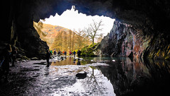 Looking Out 1 (howard1916 - Sleepless in Shrewsbury) Tags: cave rydalwater thelakedistrict cumbria thenationaltrust light reflections water