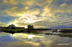Portencross Harbour Puddle Reflection(5) (g crawford) Tags: portencross castle harbour harbor portencrosscastle portencrossharbour ayrshire northayrshire crawford reflect reflection reflecting sky water clyde riverclyde firthofclyde cloud panasonic lumix tz60 panorama boat boats sailing westkilbride