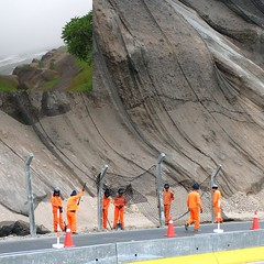 Safeguarding Cliffs. Miraflores, Lima, Peru (Rana Pipiens) Tags: war battle soldiers cliffs warofthepacific battleofmiraflores chile peru orange jetlag mist beach