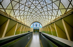 Hall at the Imperial War Museum in London, England (` Toshio ') Tags: toshio london england unitedkingdom imperialwarmuseum architecture hall patterns path museum greatbritain europe fujixt2 xt2 window skylight