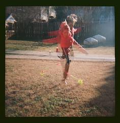 Skip it double exposure (nataliekrovetz) Tags: toycamera diana dianaf 120mm ektar100 analog lomography skipit plasticcamera film 120mmfilm plasticlens doubleexposure motion movement outside play