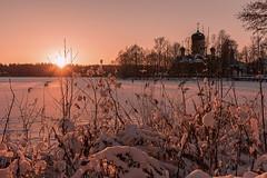 Frosty Evening (gubanov77) Tags: december winter snow snowy nature landscape sunset goldenhour dusk sunlight trees vvedenskoelake vvedenskymonastery vvedensky monastery vladimiroblast russia lake church frost cold