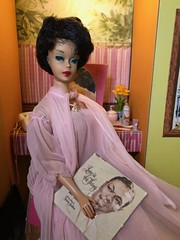 Love is the thing (Foxy Belle) Tags: barbie doll vintage bubble cut vanity cardboard structure dream house original red lips early thin tight nighty negligee robe bedroom pink album record nat king cole raven