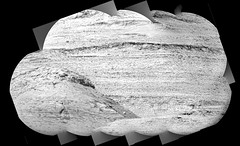 Layered Cliffs, variant (sjrankin) Tags: 11january2020 edited nasa mars msl curiosity galecrater grayscale panorama layers rocks zoom