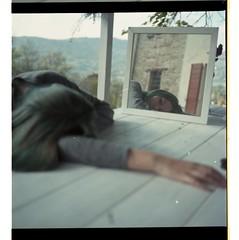 il sole di novembre (chiara ...) Tags: analogphotography analogue 120mm rolleiflex fujicolors nps 160 portrait girl colors sun mirror countryside