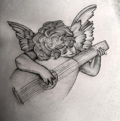 """Angel playing the lute"" for @zane_for_president .#rossofiorentino . ... .... .. . .. #eyeofjadetattoo #eyeofjade #jeremygolden #jeremy_golden #jeremygoldentattoo #blackwork #blackworkerssubmission #darkartists #blacktattoomag #blacktattooart #btattooing"