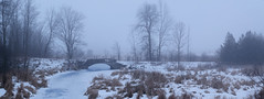 Abandoned concrete arch bridge (virgil martin) Tags: bridge fog snow ice landscape panorama bluehour wellingtoncounty ontario canada