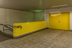 All yellow (jefvandenhoute) Tags: belgium belgië antwerpen metro light lines shapes