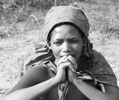 Bushman tribe - Portrait of young woman - Kalahari desert - Botswana (lotusblancphotography) Tags: africa afrique botswana kalahari tribe bushman portrait woman monochrome blackwhite