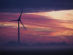 Eco sunset (Hans & Liek) Tags: nederland netherlands friesland sunset zonsondergang polder countryside platteland windmolen windturbine windmill
