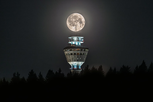 Moon over Puijo tower