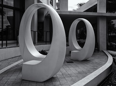 Urban sculpture (Tim Ravenscroft) Tags: architecture sculpture urban art sarasota florida apartment outdoors hasselblad hasselbladx1d monochrome blackandwhite blackwhite