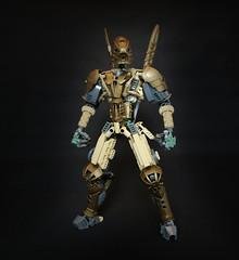 Oro (Ron Folkers) Tags: lego bionicle technic system dark gold grey lihkan swords tan armor warrior moc