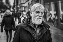 Old Curiosity (Leanne Boulton) Tags: urban street candid portrait portraiture streetphotography candidstreetphotography candidportrait streetportrait eyecontact candideyecontact streetlife old man male face eyes expression mood feeling emotion curiosity beard tone texture detail depthoffield bokeh naturallight outdoor light shade city scene human life living humanity society culture lifestyle people canon canon5dmkiii 70mm ef2470mmf28liiusm black white blackwhite bw mono blackandwhite monochrome glasgow scotland uk