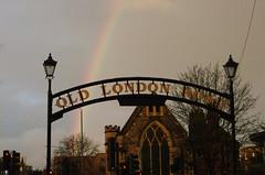 IMGP5560 a (Steve Guess) Tags: oldlondonroad kingstonuponthames kingston surrey greater london england gb uk rainbow lovekyn chapel sign mirrored