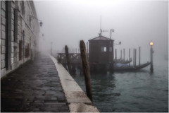 Misty Morning Blues (photofitzp) Tags: fog grandcanal italy mist santamariadellasalute venice gondola water