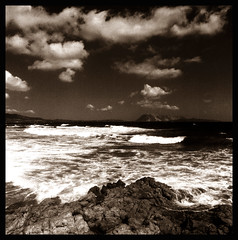 Wrath of Poseidon (Claudio Taras) Tags: hasselblad501cm hp5 medioformato italia bw redfilter onde ombre shadow rocks acqua esposizione filmisnotdead 6x6 120rollfilm contrasto black pstoned tempesta