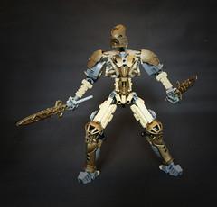 Oro (Ron Folkers) Tags: lego bionicle technic system moc tan grey dark gold armor swords lihkan warrior