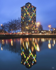 Double Helix (Bram de Jong) Tags: arnhem helix formeroffice office building bluehour holland gelderland reflection colours ngc fujifilmxt3 xf1024mmf4rois 3leggedthing studentsflat presikhaaf le longexposure cityscape icon