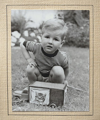 With my toy truck 1953 Summer (juliensart) Tags: juliensart karel julien cole beka matrassen mattrasses toy speelgoed speelgoedauto child play spelen playing zwartwit black white bw blackandwhite attributionnoderivscreativecommons noncommercialuse