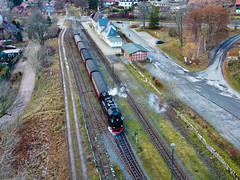 steam-train at the station (laird.lothar) Tags: steam steamtrain germany harz elend air train railway countryside winter village station
