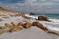 South African beach (Tjaldur66) Tags: sea seashore ocean coast coastline beach sand rocks outdoor solitude wilderness southafrica westerncape capepeninsula scarborough mistycliffs