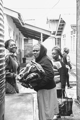 At the Clothes Bank - 15th June 2019 (princetontiger) Tags: grayscale monochrome blackandwhite kangemi clothes slum street streetphotography kenya women
