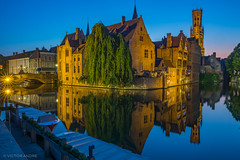 Bruge reflections (maestro17ca) Tags: historic medievalbuildings bruges brugge belgium flanders reflection canal nightphotography landscapephotography longexposure 15thcentury sonya6000 sigma16mmf14 rozenhoedkaai belfrytower photospot groenerei dijvercanal romantic middleages picturesque citycenter charming