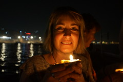 Glowing Niqui (steve_whitmarsh) Tags: portrait city urban india varanasi night lights ganges niqui topic