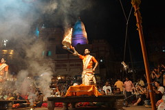 Giving Blessing (steve_whitmarsh) Tags: city urban building architecture india varanasi night lights ganges topic