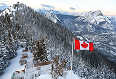 The True North Strong and Free (Anthony Mark Images) Tags: banff alberta canada sulphurmountain snow snowcoveredtrees canadianflag walkway stairs weatherstation townofbanff trees beautiful mountains lovely landscape nikon d850 flickrclickx cascademountain sansonpeak boardwalktosansonpeak