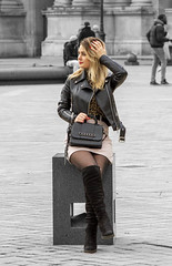 posing (Henk Overbeeke Atelier54) Tags: girl street candid longhair blond nylons boots miniskirt paris louvre selectivecolor