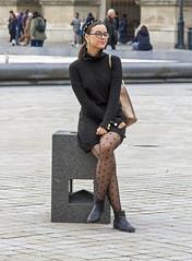 posing 2 (Henk Overbeeke Atelier54) Tags: girl street candid nylons longhair specs boots minidress earring paris louvre
