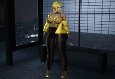 #1757 SchlappOhrStyle (BlogOwner : SchlappOhrStyle) Tags: prettydeceased natalieoutfit fur yellow leather bodysuit doux danni fakeicon swallow noldor elf genus taikou busstop nighttime party