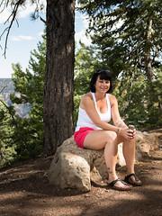 North Rim of Grand Canyon (rskura) Tags: grandcanyon arizona northrim park tree rock girl cute wife vacation resting smile