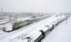 VIA 24 (Michael Berry Railfan) Tags: via24 via917 viarail train passengertrain winter snow southwarkyard longueuil renaissancecars ge generalelectric genesisseries p42dc
