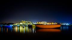 Summernights in Malta (vale0065) Tags: blue blauw boat boot malta island eiland harbor haven night nacht nocturnal lights lichten reflectie reflection star ster
