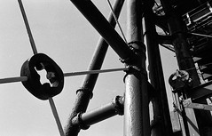 noughts and crosses (Mano Green) Tags: metal canal lift lock waterways anderton uk light shadow england industry canon eos march boat spring cheshire engineering 300 40mm shape 2017 white black film monochrome 35mm lens s epson hp5 ilford perfection v550 ilfosol