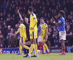 Sean Wagstaff red carded (Packhorsetravel) Tags: portsmouthvwimbledonafc skybet leagueone 11012020 photobarryzee portsmouth hampshire england seanwagstaff