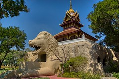 Building with lion's head in Muang Boran (Ancient City) in Samut Phrakan, Thailand (UweBKK (α 77 on )) Tags: muang mueang boran ancient city siam open air museum garden park outdoors education recreation culture tradition samut phrakan province bangkok thailand southeast asia sony alpha 77 slt dslr building house architecture lion head entrance