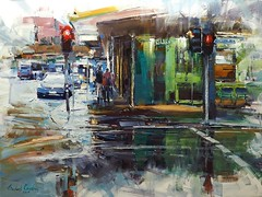 On the corner of Edward and Adelaide (MikeC4503) Tags: edward street streetscape streetscene adelaidestreet brisbane cityscape oilpainting rain