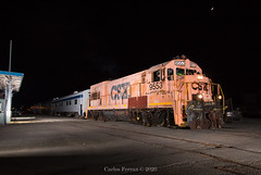 """Maintenance of Wade"" (Carlos Ferran) Tags: csx csxt ge u23b maintenance way wade sarm southern appalachia railway museum k23 secret city tennessee tn oak ridge night flash"
