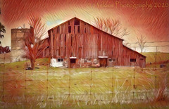 The Old Barn (HSS) (13skies) Tags: deepdreamgenerator hss oldbarn reds old fallingdown countryroad countryside barn rural farming oldstyle fence happyslidersunday slider slidersunday postwork postprocessing post software