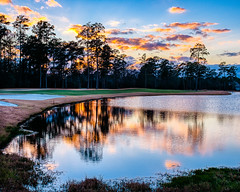 2:52-2 Sunset Reflections (Woodlands Photog) Tags: thewoodlands texas sunset golf course clouds water reflection