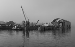 Dock (AstridWestvang) Tags: bay boat crane fog industry sanfrancisco shipyard usa