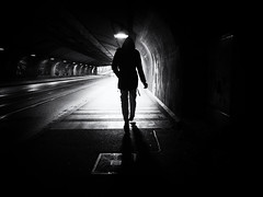 Underpass, Augsburg (Sandy...J) Tags: atmosphere alone atmosphäre augsburg germany blackwhite bw bavarian city contrast darkness dunkelheit durchgang fotografie photography light silhouette licht kontrast monochrom man mann mood noir night nacht underpass unterführung street streetphotography sw schwarzweis strasenfotografie stadt shadow olympus urban tunnel