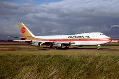 N606PE Boeing B747-143 EGPK 1986 (MarkP51) Tags: airport prestwick film sunshine airplane scotland nikon aircraft sunny slide scan airliner pik kodachrome64 f301 egpk continental co boeing coa jumbojet b747 continentalairlines b747143 n606pe