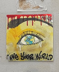 Love your World (Paris, Montmartre) (no_christian) Tags: paris france 75 capitale europe europa labuttemontmartre buttemontmartre montmarte streetart street rue art artdanslarue collage sticker papierpeint paperpaint visage face féminin female regard look oeil eye planisphére globeterrestre planisphere pleur cry larme tear teardrop peur fear sang blood avertissement caution slogan amour love monde loveourworld world kafran chn christian noé