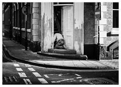 Fixing or Falling? (Dave Button) Tags: workman hockley nottingham bw blackandwhite mono monochrome fuji fujifilm 35mm niftyfifty street road building photography photo photograph border light builder shadow