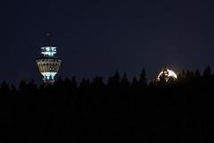 Moon and Puijo tower (VisitLakeland) Tags: finland kuopio lakeland puijo puijopeak puijonaturepark puijontorni backlight fullmoon kuu kuutamo luonto maisema moon nature outdoor puijotower scenery täysikuu vastavalo